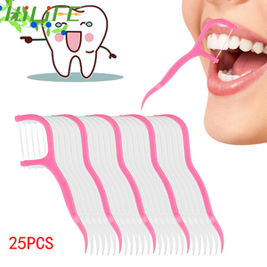 HILIFE Oral Care Toothpicks Disposable Interdental Brush Plastic Tooth Picks Toothpick Dental Floss 25pcs/pack Teeth Cleaning