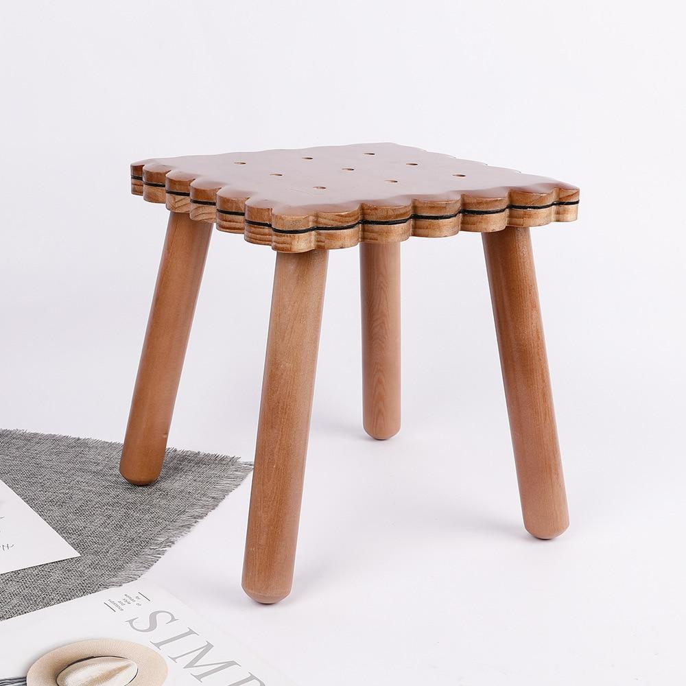 Kindergarten Solid Wood Chair New Zealand Pine Wood Stool Cartoon Biscuit Children's Chair Furniture Stool