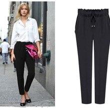 Hot 2018 Fashion Chiffon Pants Candy Casual Harem Elastic Waist Plus Size Women Trousers Pantalones M -6xl