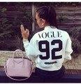 Vogue 92 WINTOUR Estilo Bomber Jacket Mujer Manga Larga Abrigos Otoño Invierno Chaquetas de Cremallera Femenina prendas de Vestir Exteriores Trajes Jumper