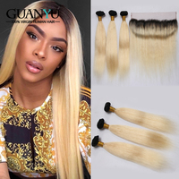 Guanyuhair Remy 1B/613 Ombre Peruvian Straight Hair Bundles With 13X4 Lace Frontal 2 Tone Black Blonde Human Hair With Dark Root