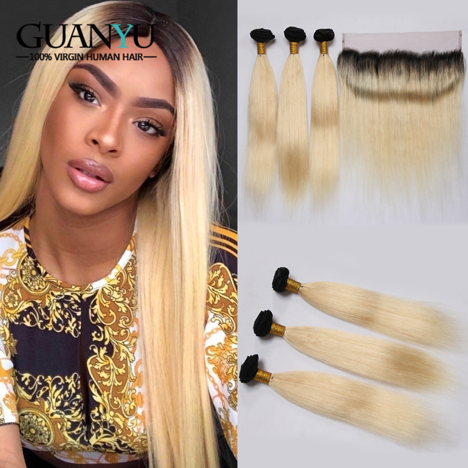 Guanyuhair Remy 1B/613 Ombre Peruvian Straight Hair Bundles With 13X4 Lace Frontal 2 Tone Black Blonde Human Hair With Dark Root image