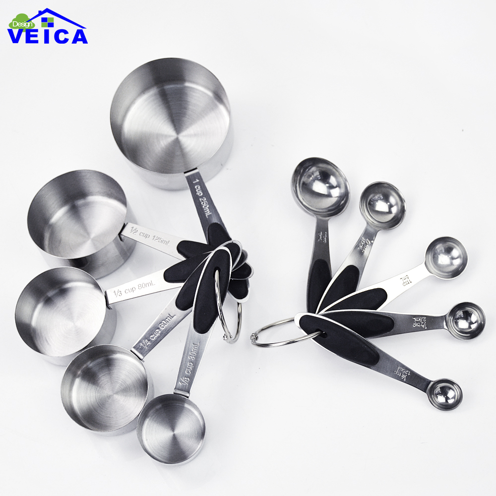 10pcs set Premium Stainless Steel Measuring Cups and Spoons Stackable Set for Kitchen Cooking Baking