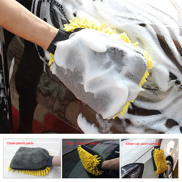 1PC Car Care Cleaning Wash Waterproof Glove Car styling Microfiber Chenille Mitt Auto Wax Paint Detailing Wash Brush Accessories