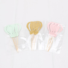9pcs Cake Decoration Hot Air Balloon Toothpick Insert Toppers Paper Cups Birthday Party Decorations Figure Toys