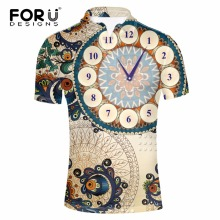 FORUDESIGNS Mens Summer Short Sleeve  Shirt 3D Fashion Clock Print Turn-down For Male Comfortable Casual Homme