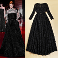 2015 Europe and USA Catwalk Hot Vintage Black Lace Perspective Stereo Disk Flower Princess Dress Sexy Long Maxi Dress