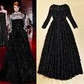 Vestido Vintage, europa y ee.uu. Catwalk Hot perspectiva encaje negro Stereo disco flor princesa largo atractivo Maxi