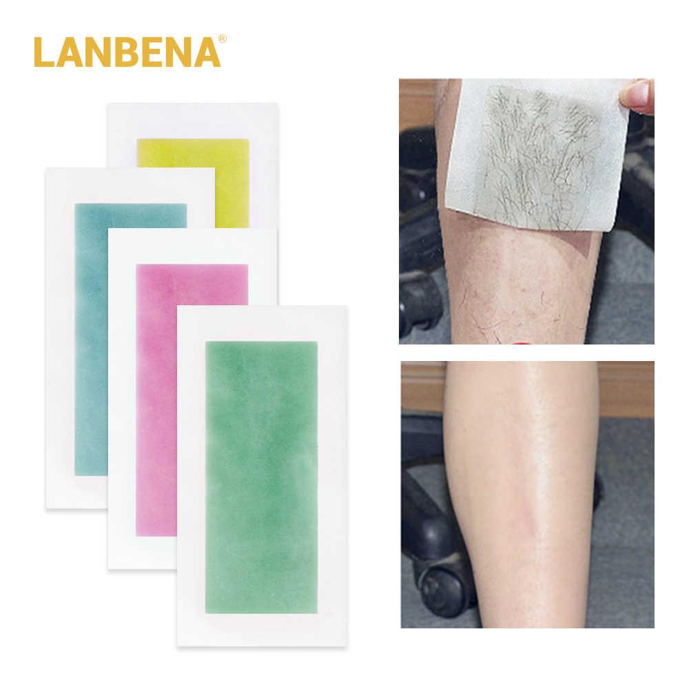 LANBENA Yüksek Kalite Epilasyon Wax Şeritler Kağıtları Doğal Balmumu Çift Yan Epilasyon Sökülmüş Ipeksi Tüm Vücut Için Güzellik