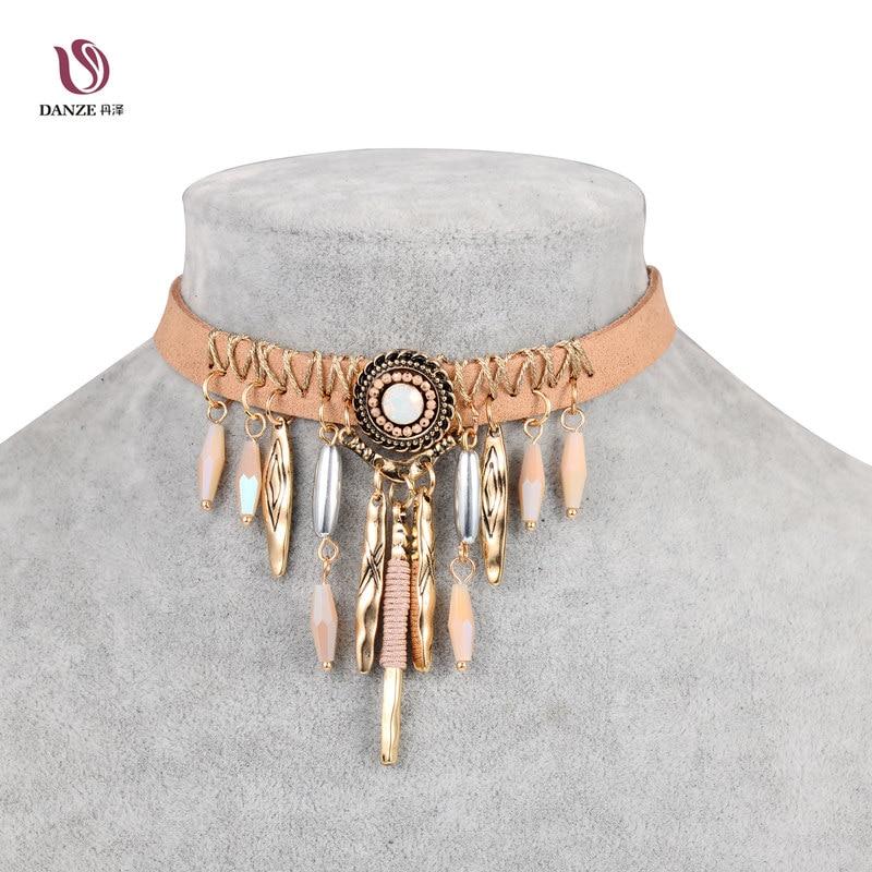DANZE márka Bohemia Tassel-fojtó nyaklánc Női indiai barna bőrlánc-chocker Collier nyakláncok és medálok Bijoux Femme