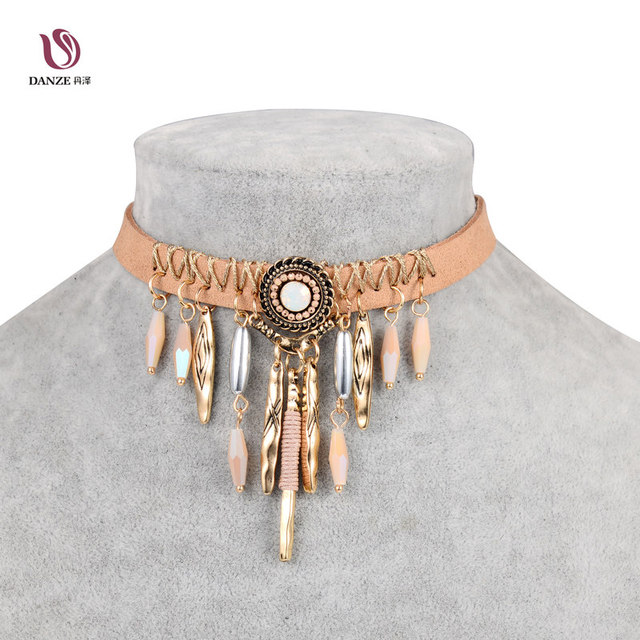 Bohemia Tassel Choker Necklace Indian Brown Leather