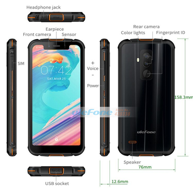 Ulefone Armor 5 IP68 Waterproof Mobile Phone Android 8.1 5.85″ HD+ Octa Core 4GB+64GB NFC Face ID Wireless Charge Smartphone