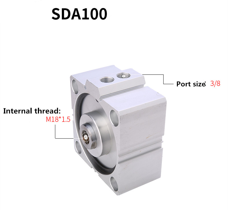 Free Shipping Thin Cylinder SDA100 Series 5mm To 100mm Stroke Aluminum Alloy Air Cylinder Pneumatic Components