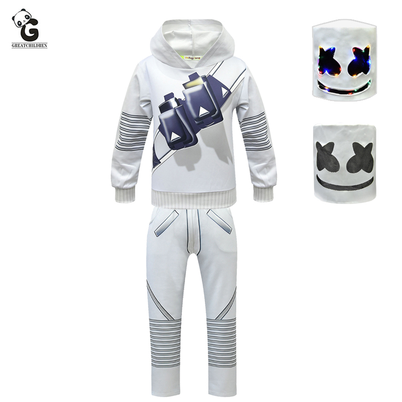 MarshMello Mask Full Head Festival Costume Kids Boy Cosplay Fancy Party Outfits