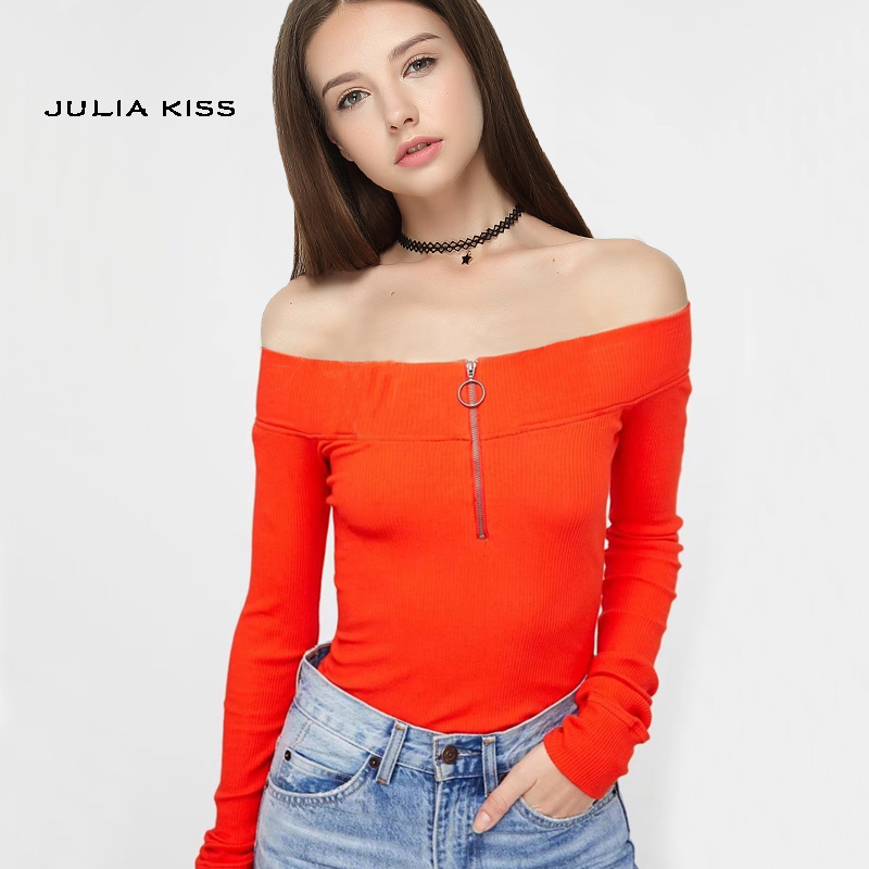 Women Casual Off the Shoulder Top with Half Zip Front Sexy Rib Top