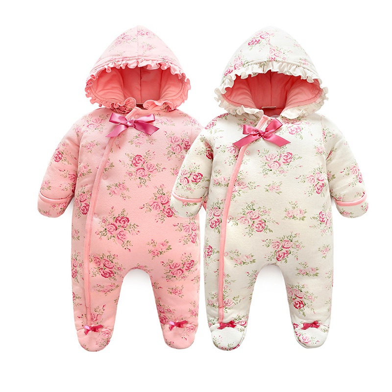 Winter Girls One-pieces Newborn Baby Clothes Infant Floral Print Hooded Rompers Ruffles Decor Sweet Cotton Foot Covered Outfits