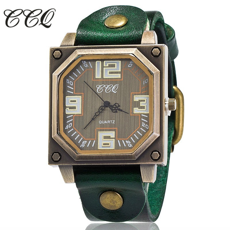 CCQ 2016 Vintage Cow Leather Bracelet Watch Casual Women WristWatch Luxury Quartz Watch Relogio Feminino Gift