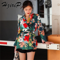 HziriP 2018 Women Blazers and Jackets Spring Fall Long Sleeve Suit Floral Western Uniform Style Work Wear Office Outwear Blazer
