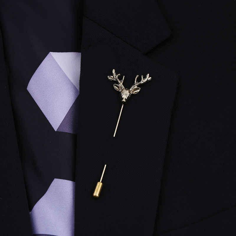 Vintage Pernikahan Bros Untuk Pria Tanduk Rusa Rusa Kepala Broche Pin mode Tongkat Pin Topi Dasi Bros Unisex Kerah Pin Hadiah Bijoux