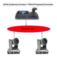 Professional Conference kits 2pcs 20x zoom broadcast live streaming video ptz camera with 1pcs lcd display keyboard controller