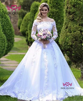 Pure white Long Sleeve Lace Wedding Dress 2019 New Arrival Vestido De Novia Wedding Gowns Off Shoulder Wedding Dresses W0620 3