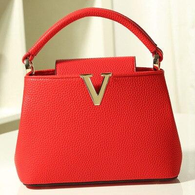 Bucket women handbag litchi grain leather Messenger bag for phone ipad makeup Ladies shoulder crossbody bag with mental logo