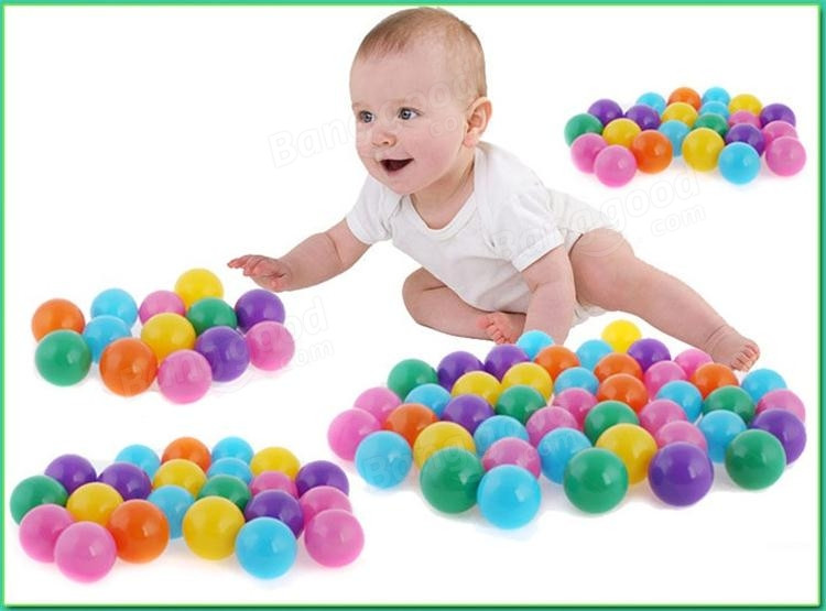 100pcs/set Baby Childrens toys Ocean Colorful Nice Elasticity Thickening Ball Toys Plastic Gifts Mesh Bag Elastic Ball