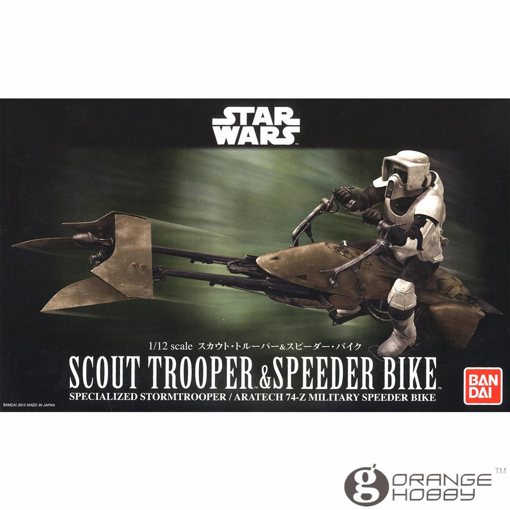 OHS Bandai SW 1/12 Scout Trooper & Speeder Bike Assembly Model Kits bandai sw 1 12 stormtrooper assembly model kits