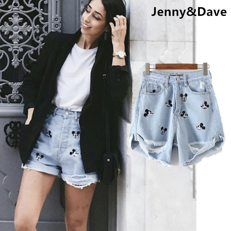 Withered cartoon denim   shorts   women high street fashion blogger cartoo mouse embroidery cartoon mom harem   shorts   women plus size