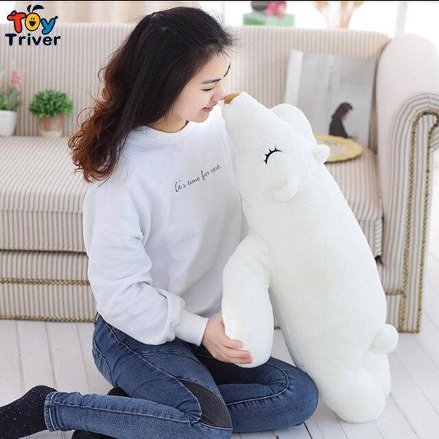 66db687d2b8c6f Creative cartoon plush white polar bear doll bolster sleeping pillow kids  baby boy girl toys birthday gift home shop deco triver