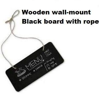1pcs/lot NEW Small Wooden Wall-mount Black Board With Rope Wood Blackboard Memo Message Board Wooden Doorplate