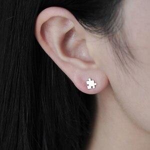 HEBEHERA Ornaments Fashionable Unique Delicate Silver Autism Consciousness Jigsaw Symbols Pendant Earrings Female Ornaments(China)