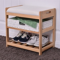 Modern 2 Tier Basket Entryway Hallway Lightweight Sturdy Pine Wooden Shoe Rack with Comfortable Thick Sponge Cushion HW56235