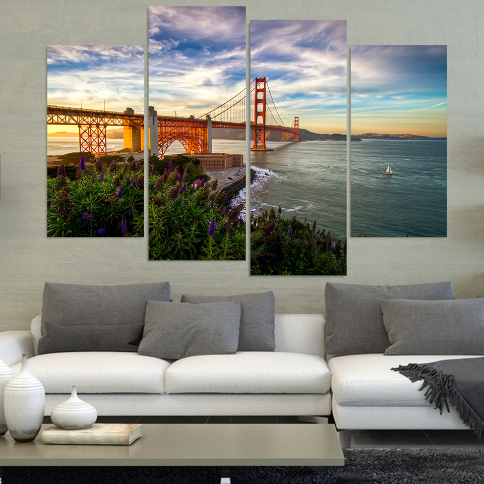 Canvas painting 4 pcs canvas art san francisco bridge river hd printed home decor wall art - Home decor stores san francisco decor ...