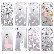 Para o iphone 11 pro max 7plus 12 6plus 8 mais x xs max kawaii bonito llama alpaca animais dos desenhos animados macio impresso capa de telefone