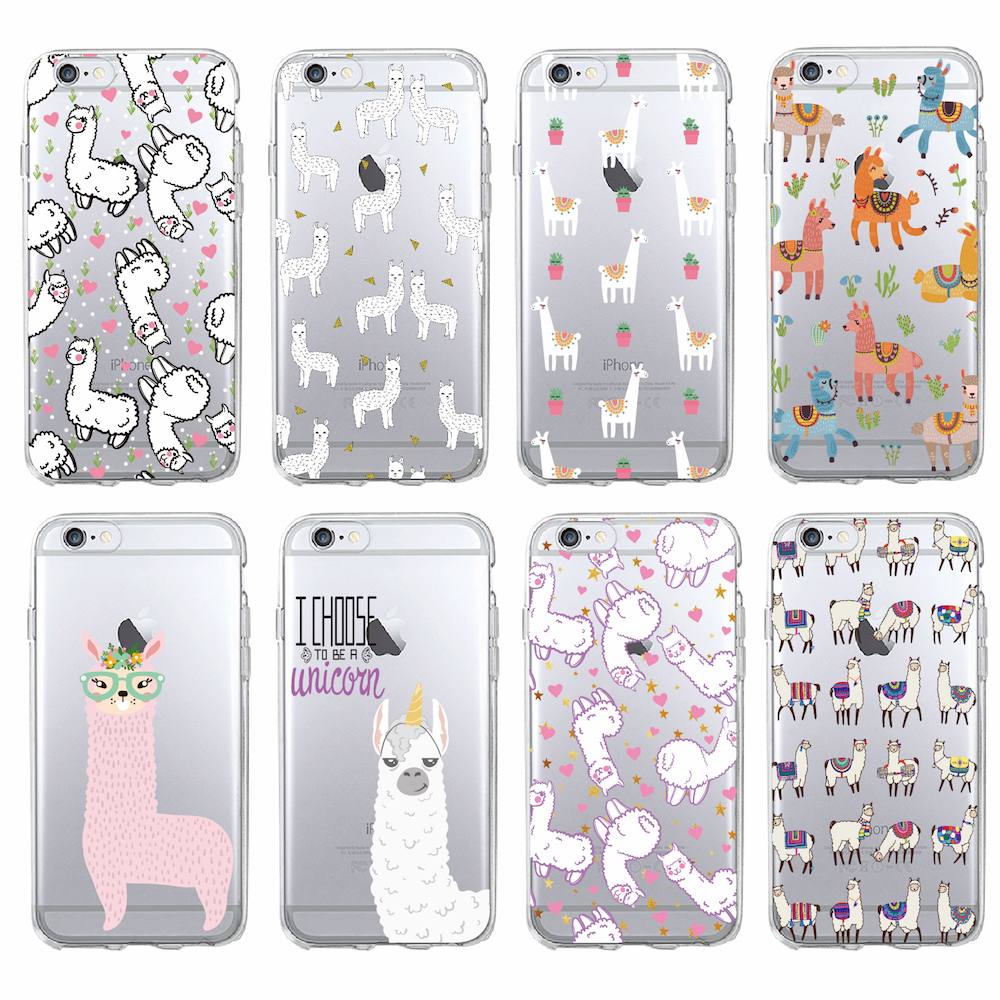 TOMOCOMO For iPhone 7 7Plus 6S 6Plus 5 5S 8 8Plus X Kawaii Cute Llama Alpaca Animals Cartoon Soft TPU Printed Phone Case Cover