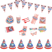 1set 90pcs for 6 Kids Birthday Tableware 2017 Cartoon Pirate Theme Party Decoration For Children Boys Girls Event Birthday Party