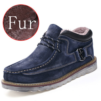 men shoes genuine leather 2019 winter boots with fur fashion senakers outdoor work shoes warm Ankle boots men big sizes 39-45
