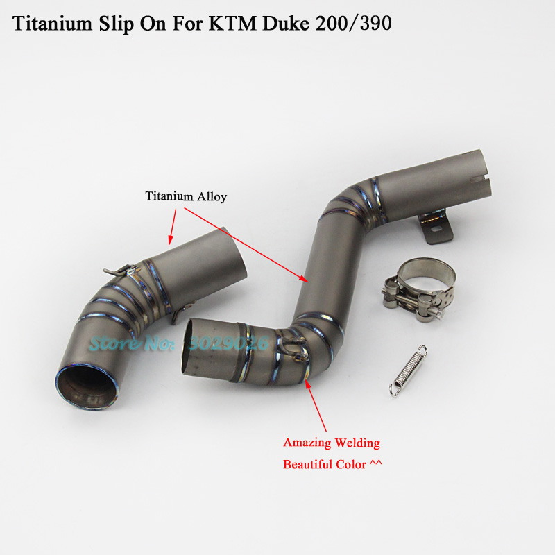 Titanium Alloy Slip On For KTM 200 390 Duke200 Duke390 Motorcycle Modified Exhaust Muffler Pipe Middle Link Pipe Fit 51mm Escape