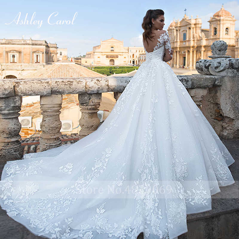 אשלי קרול סקסי V-צוואר ארוך שרוול טול שמלות כלה 2019 משפט רכבת כלה שמלת וינטג תחרה נסיכת שמלות כלה