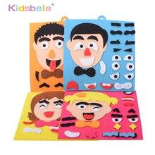 Quebra cabeça de brinquedos para crianças, diy, mudança de emoção, brinquedo, 30cm * 30cm, expressão facial criativa, brinquedos educativos para crianças conjunto engraçado