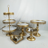 5PCS/ Set Gold Dessert Tray Cupcake Pan Cake Display Table Decoration Wedding Party Supply Crystal Mirror Cake Stand