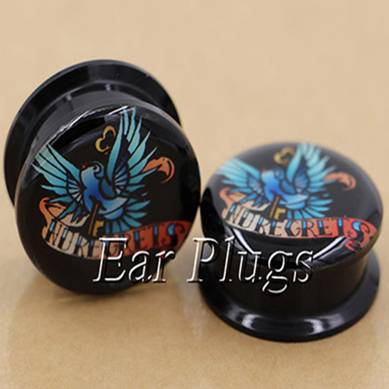 1 pair swallow ear plug gauges tunnel acrylic screw flesh tunnel body piercing jewelry PAP0233