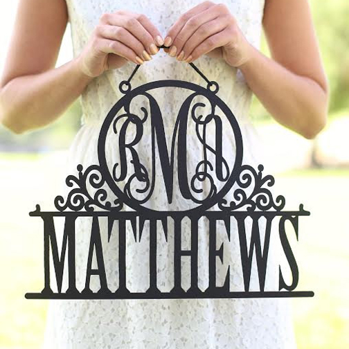 personalized monogram wall hanging sign acrylic wedding gift custom family sign with last name