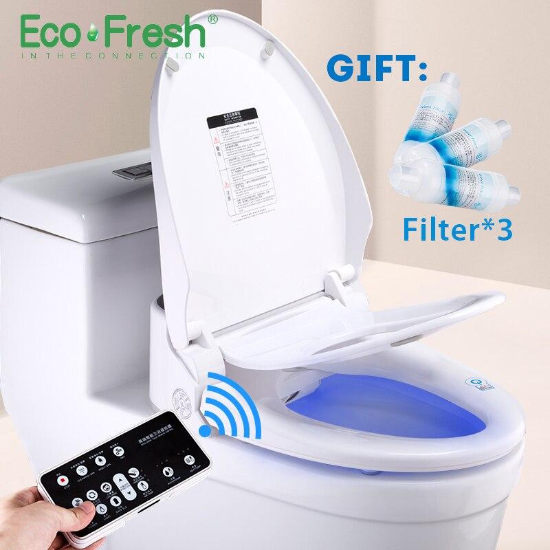 Ecofresh assento do vaso sanitário Inteligente Washlet Bidé Elétrica inteligente assento do vaso sanitário aquecido luz led integrado crianças bebê cadeira traing