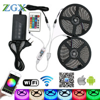 ZGX Wifi Controller 5050 RGB LED Strip Light 60led M Neon Lamp Waterproof Decor Flexible Tape