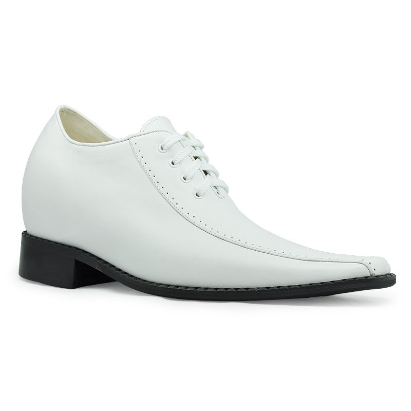 Reduced Price 6131- London Men's White Leather dress shoes Tuxedos Oxhide Gain 8CM Height Taller Elevator Shoes цена