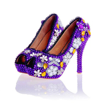 Purple Wedding Shoes Crystal High Heel Bridal Shoes Handmade Nightclub Rhinestone Bride Shoes Peep Toe Spring Women Prom Pumps