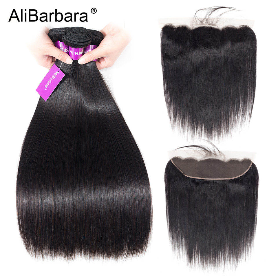 Brazilian Straight 4 Bundles With Lace Frontal Closure AliBarbara Hair Weave Bundles Remy Human Hair Extension Free Shipping