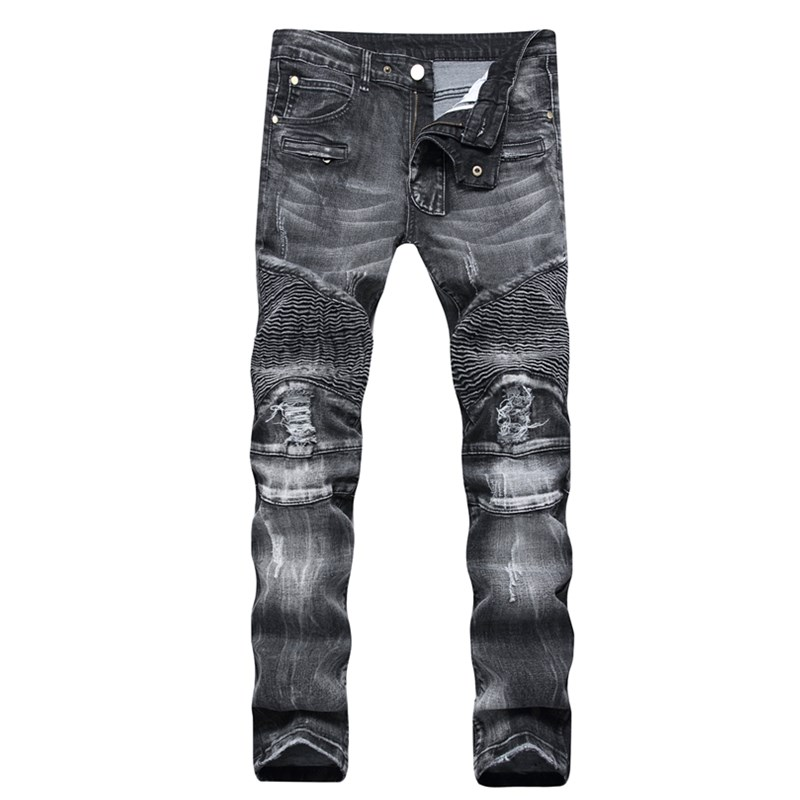 Plus size 29-42 gray Blue Biker Jeans Ripped Slim Hip Hop Denim Trousers Mens Jeans High Quality Motorcycle Pants Punk Homme airgracias elasticity jeans men high quality brand denim cotton biker jean regular fit pants trousers size 28 42 black blue